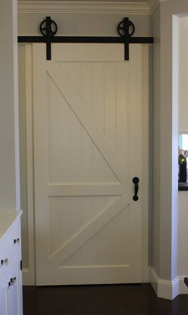 Sliding barn door for pantry craftsman interior for Sliding pantry doors
