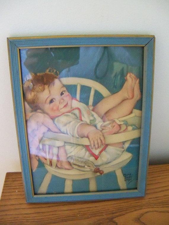 Vintage childs framed picture