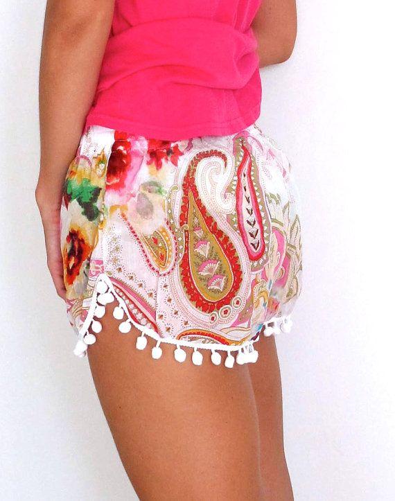 Pom Pom Shorts  Pink Paisley with White Pom Pom by ljcdesignss, $29.00