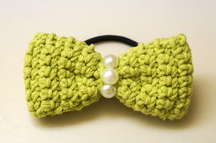 Wild Forest Green Crochet Bow Hair Tie - Let loose in the forest with ...
