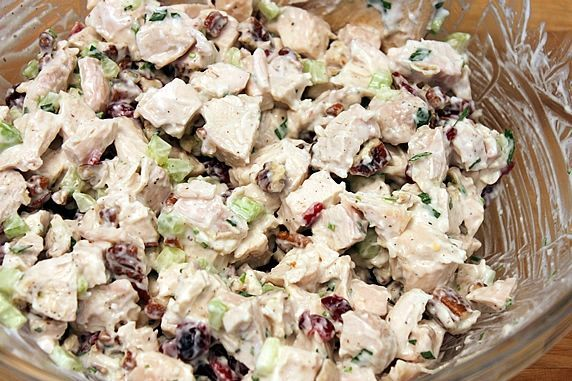 Chicken salad with cranberries & pecans. This stuff is seriously good ...