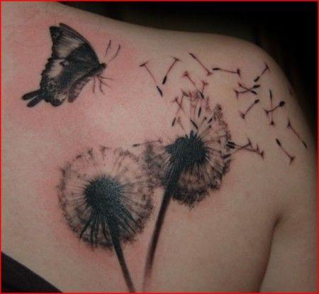 tattoo foto pusteblume und schmetterling auf schulter. Black Bedroom Furniture Sets. Home Design Ideas