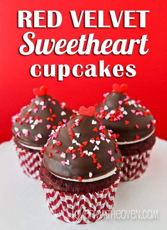Red Velvet Sweetheart Cupcakes by Love From the Oven For #ValentinesDay
