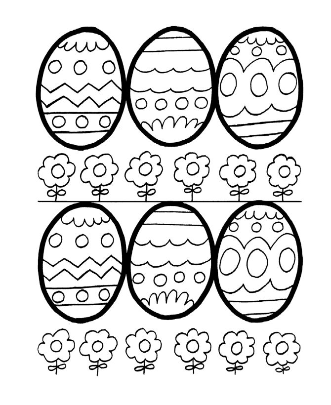 Easy Easter Egg Outlines Coloring Page