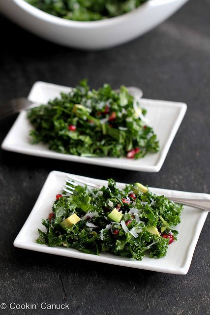 ... leafy veggies! Chopped Kale Salad Recipe with Pomegranate & Avocado