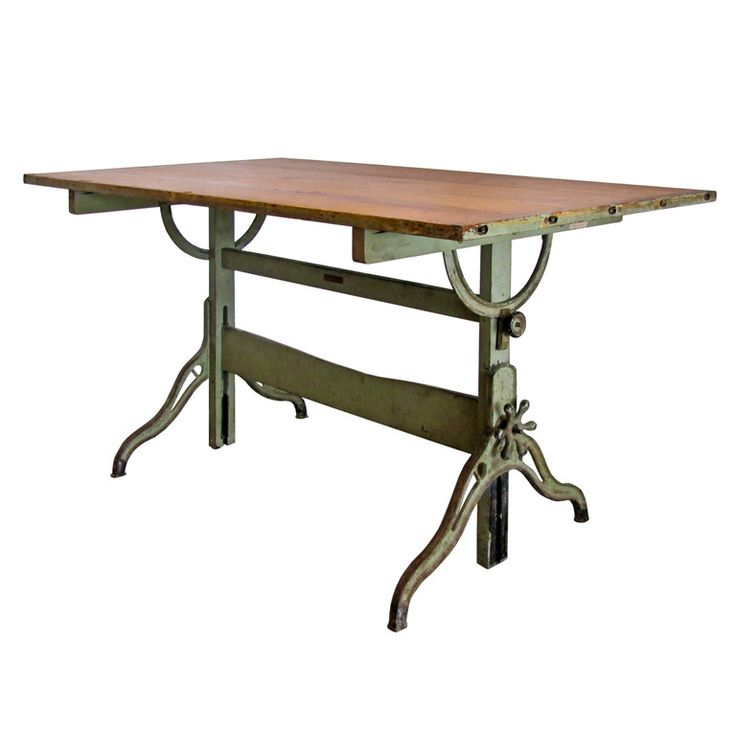 Table usa 1920 s large cast iron and wood architectural desk by b k