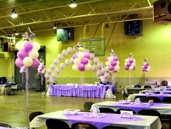 Pin quinceanera balloons centerpieces chair covers for Balloon decoration for quinceanera
