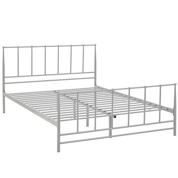 Estate Integrated Full Size Steel Platform Bed Frame In Gray