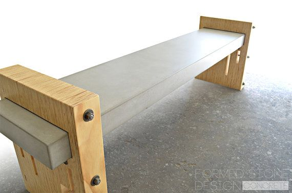 Concrete wood steel urban industrial bench Concrete and wood furniture
