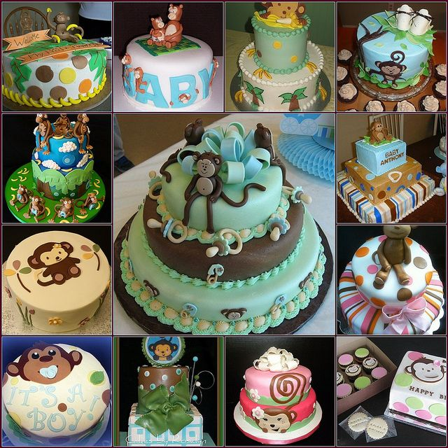 monkey baby shower cakes by dessertlover2010 via flickr
