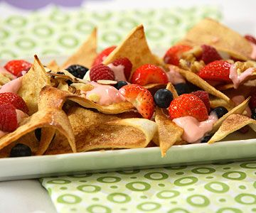 ... Nachos. Use yogurt and fresh fruit. Could use cinnamon sugar pitas