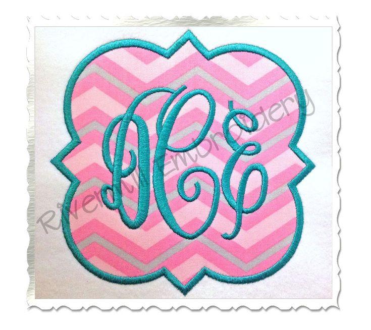 95applique quatrefoil shaped monogram frame machine embroidery design