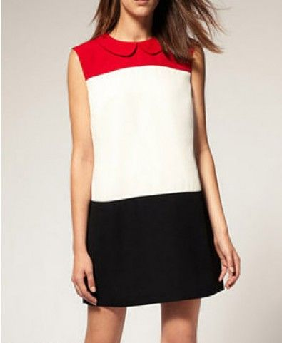 Color Block Shift Dress with Peter Pan Collar