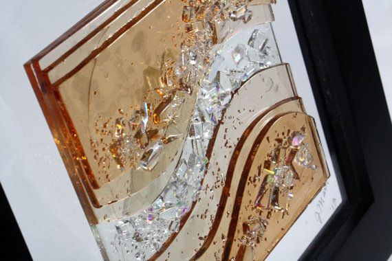Wall Art Fused Glass : Fused glass wall art champagne waves