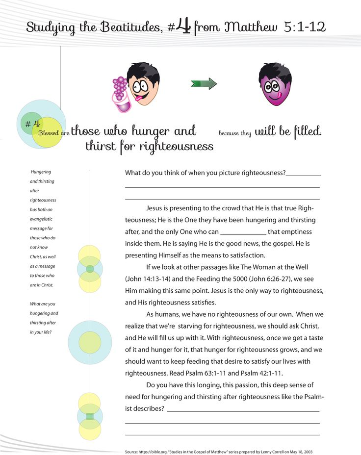 Worksheet to teach the 4th Beatitude of the Christian life from Jesus ...
