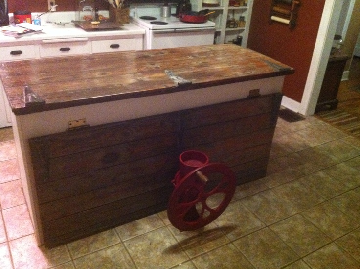 Hinged Counter Tops : Barn wood countertop with hinged door for extra serving
