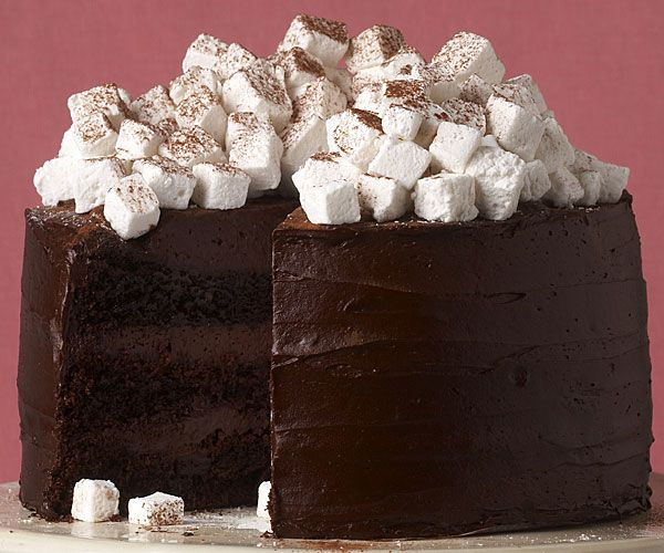 Hot chocolate layer cake with homemade marshmallows...impressive ...