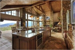 rustic great room open floor plan on open rustic house plans