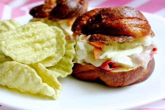 Reuben Sandwich on Pretzel Challah Rolls | Recipe