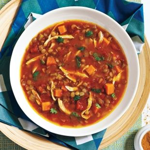 Curried Chicken and Lentil Soup With Sweet Potato recipe