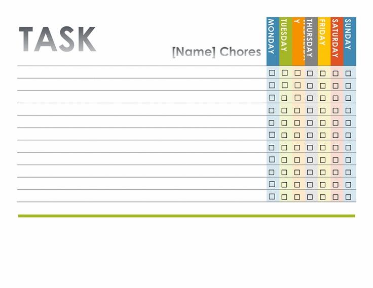 chore chart templates microsoft word