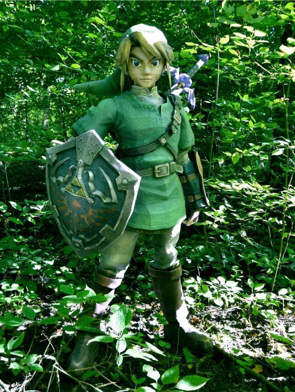 Zelda en papier de 1m70  Zelda papercraft aprox 6 feets tall