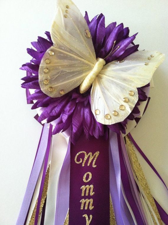 Butterfly baby shower corsage for Baby shower butterfly decoration ideas