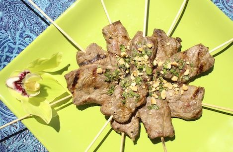 Lemongrass Beef Skewers with Spicy Peanut Sauce via The Sweet & Sour ...