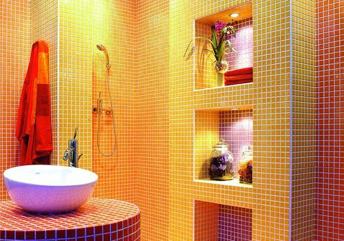 Salle de bain mosa que jaune ado r ves de d co for Mosaique rouge salle de bain