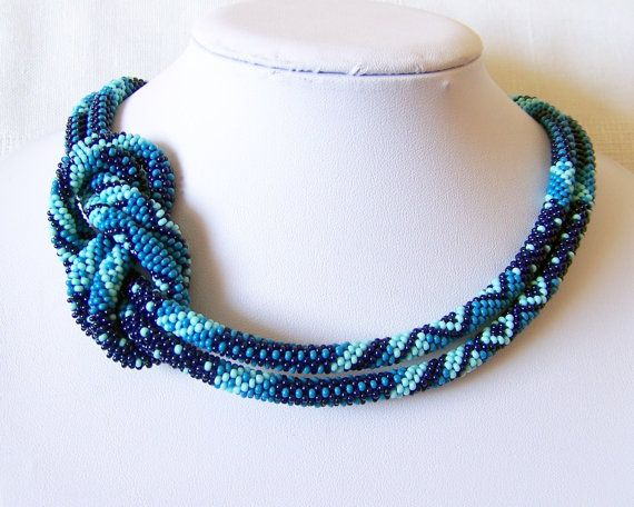 ... Beaded Crochet Rope Necklace - Beadwork - Seed beads jewelry - E