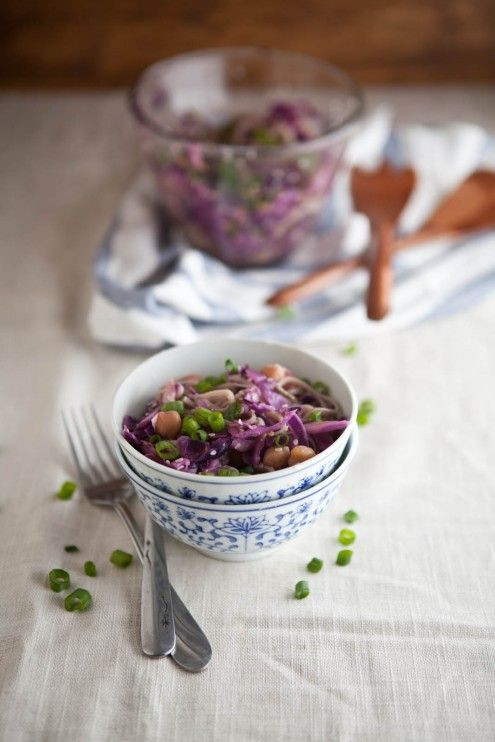 Sesame orange chickpeas, cabbage, and soba noodles /plant strong if ...