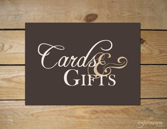 Wedding Gift Card Sign : Cards and Gifts Wedding Reception or Shower Sign by MyCrayonsPapeterie ...