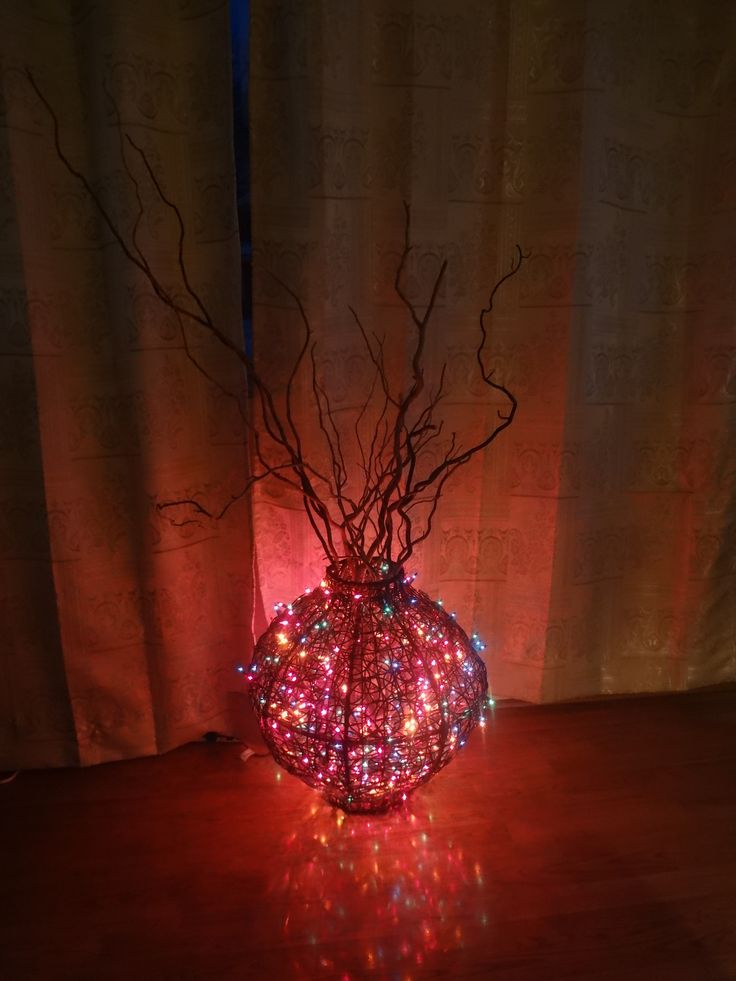 String Lights Vase : Colorful string lights in a twig vase. Home Decor Ideas Pinterest