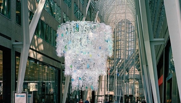 "Katharine Harvey's ""Chandelier"" piece in Toronto, Canada. A similar work was unveiled in New York City on April 15."