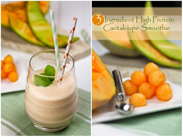High Protein Cantaloupe Smoothie | by Sonia! The Healthy Foodie