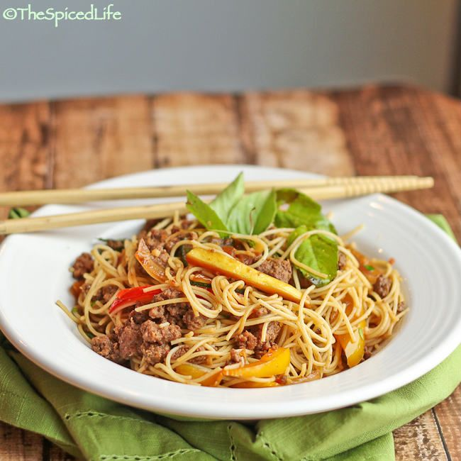 Thai Stir Fried Vermicelli with Ground Beef, Pepper and Basil; Review ...