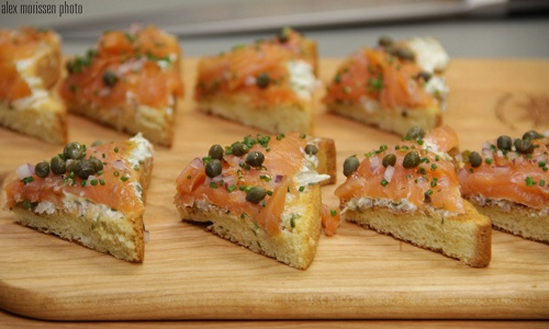 lox, capers, red onion, dill cream spread on toast points