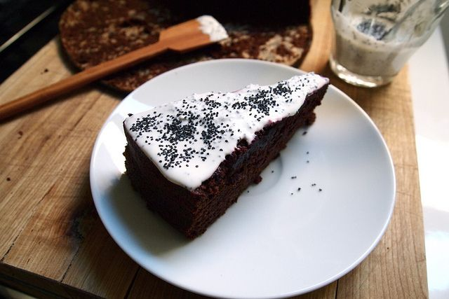 Chocolate-beet cake topped by crème fraîche and poppy seeds by ...