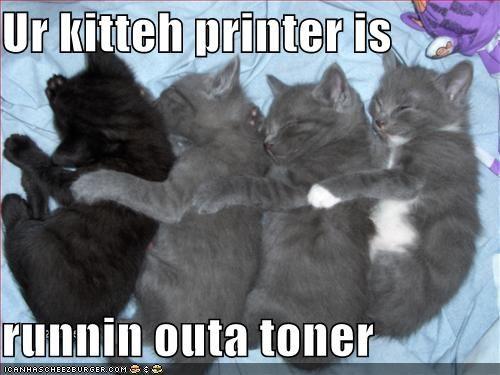 Ur kitteh printer is runnin outa toner