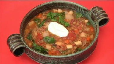 Lentil Soup with Root Vegetables and Swiss Chard (The picture looks ...