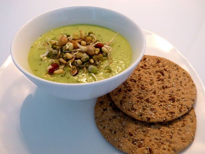 Vegan Cold Avocado Cucumber Soup, with Coconut Milk, Sprouts & Pine ...