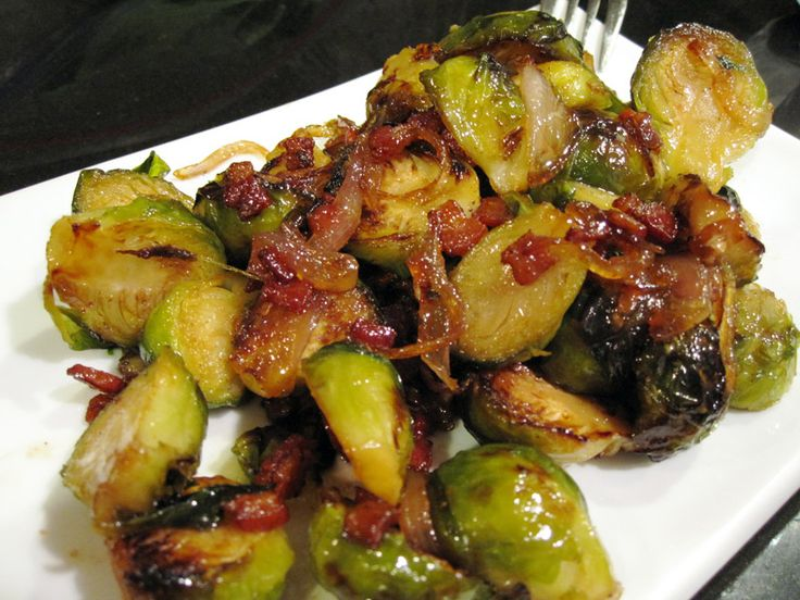 roasted Brussel Sprouts with Shallots, Bacon and Vermont Maple Syrup