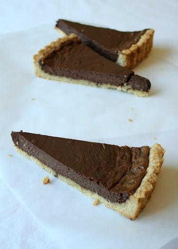 Chocolate ricotta cream cheese tart with walnut and flour crust