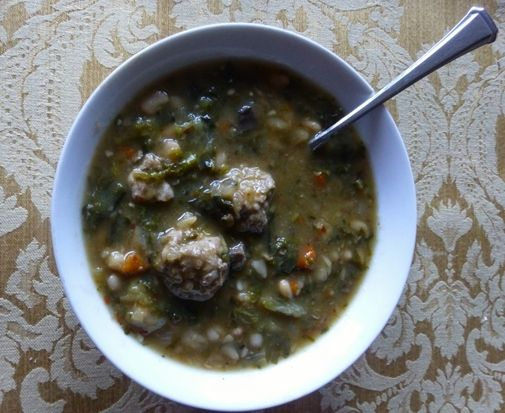 Navy Bean and Escarole Soup with Turkey Meatballs - I made this and it ...