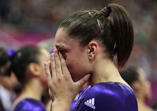 'Agony of Defeat' - Jordyn Wieber is the defending world all-around champion in gymnastics.  However, she experienced the agony of defeat in the London 2012 Olympics when she failed to make the finals (only 2 gymnasts per country are allowed to compete in the all-around).  She scored lower than her teammates Ally Raisman and Gabby Douglas.