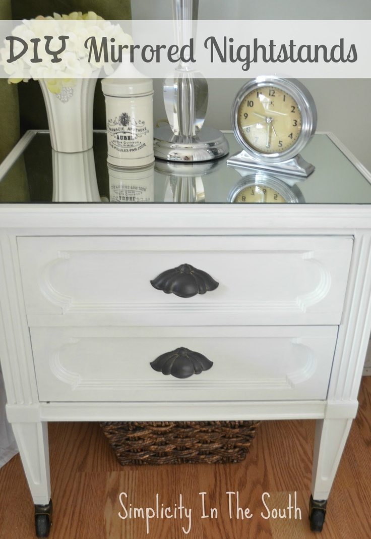 Diy mirrored nightstands bedroom pinterest for How to make a mirrored nightstand diy