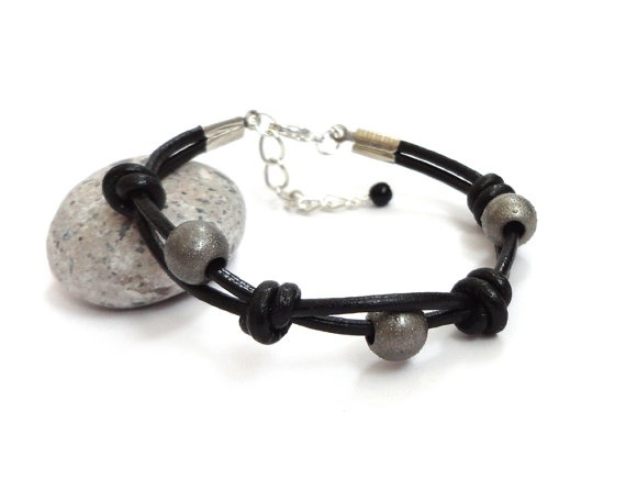 Leather knotted bracelet unisex men women cuff black by tline, $33.00