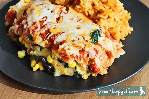 Slow Cooker Black Bean, Corn and Spinach Enchiladas (with Homemade Sa ...
