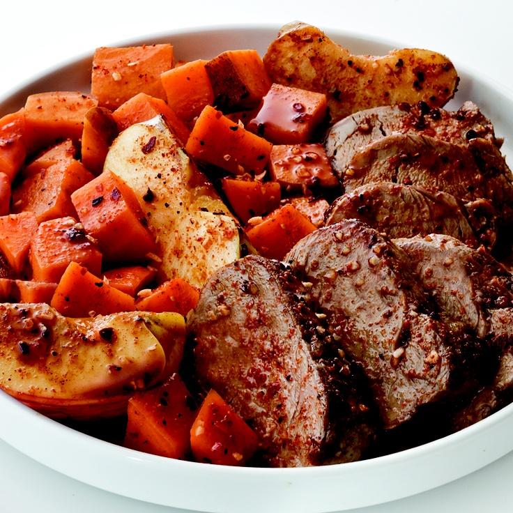 Bourbon Spiced Pork with Roasted Sweet Potatoes & Apples...i love ...