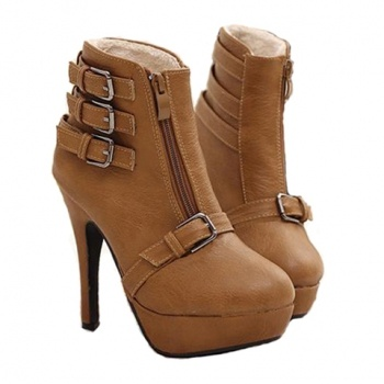 Solid Color Buckle Design Women's Ankle Boots